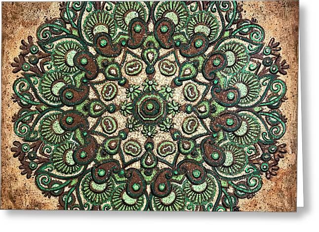 Green Mandala Greeting Card