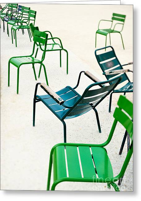 Green Metallic Chairs In The City Park Greeting Card