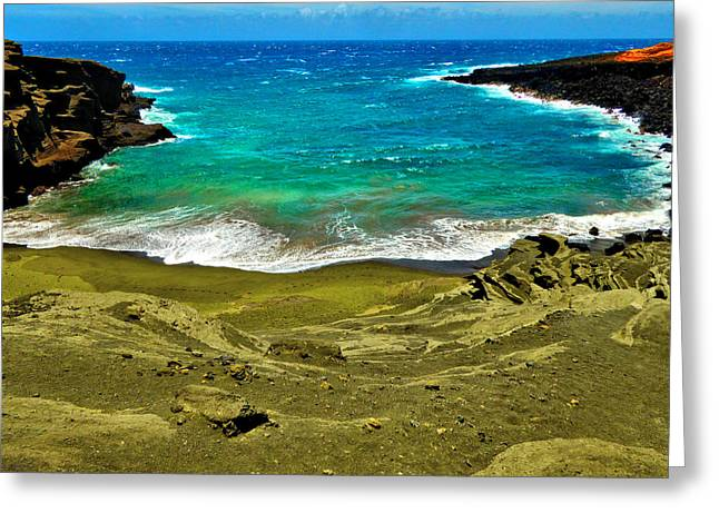 Green Sand Beach Greeting Card