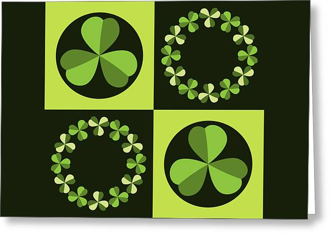 Greeting Card featuring the digital art Green Shamrocks Circles And Squares by MM Anderson