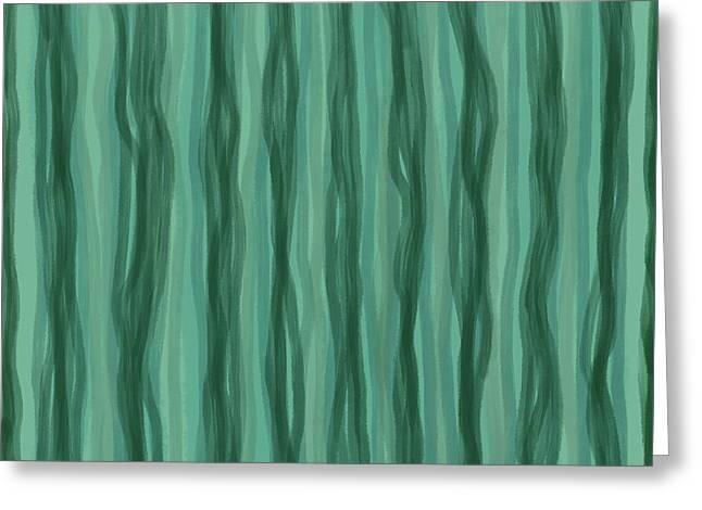 Green Stripes Greeting Card