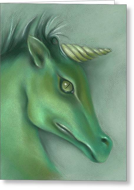 Greeting Card featuring the pastel Green Water Horse Unicorn by MM Anderson