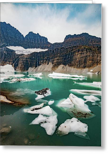 Greeting Card featuring the photograph Grinnell Glacial Lake At Glacier National Park by Lon Dittrick
