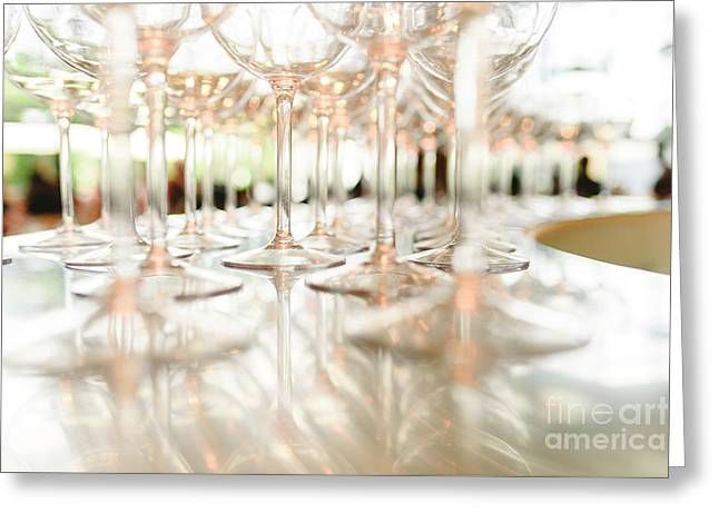 Group Of Empty Transparent Glasses Ready For A Party In A Bar. Greeting Card