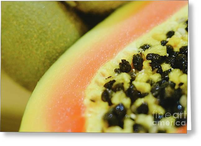 Group Of Fruits Papaya, Grape, Kiwi And Bananas Greeting Card
