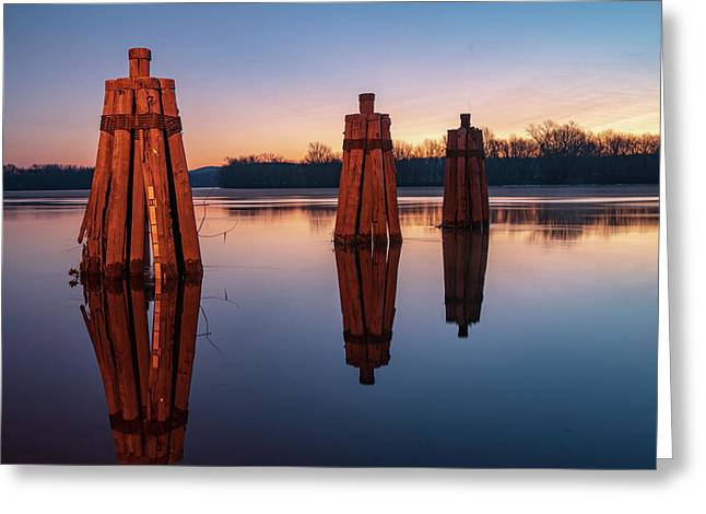 Group Of Three Docking Piles On Connecticut River Greeting Card