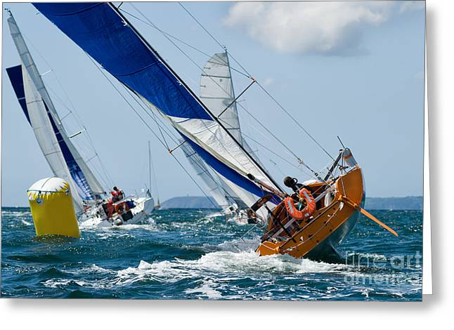 Group Of Yacht At Race Regatta With Greeting Card