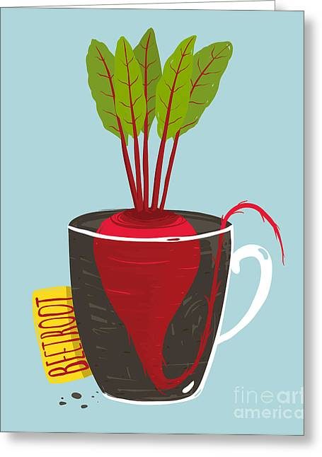 Growing Beetroot With Green Leafy Top Greeting Card