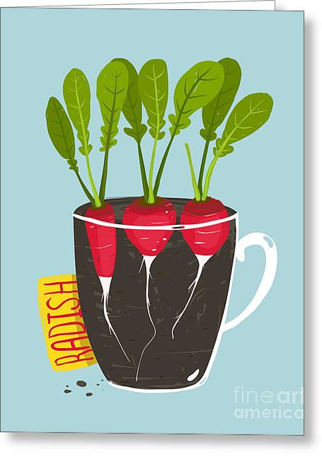 Growing Radish With Green Leafy Top In Greeting Card