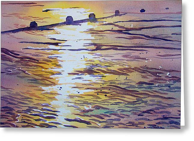 Groynes And Glare Greeting Card