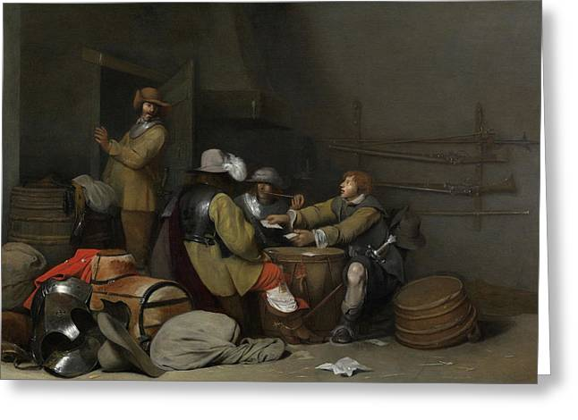 Guardroom Interior With Soldiers Smoking And Playing Cards Greeting Card