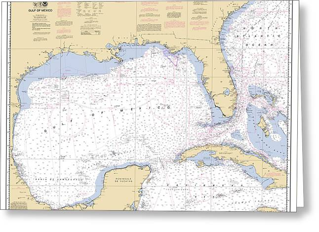Gulf Of Mexico, Noaa Chart 411 Greeting Card