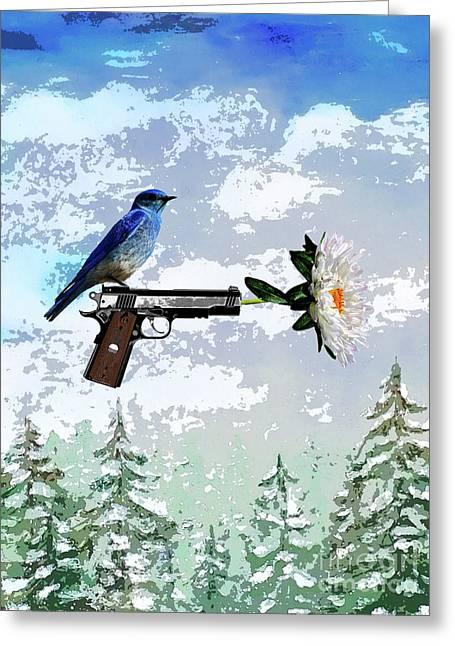 Bluebird Of Happiness- Flower In A Gun Greeting Card