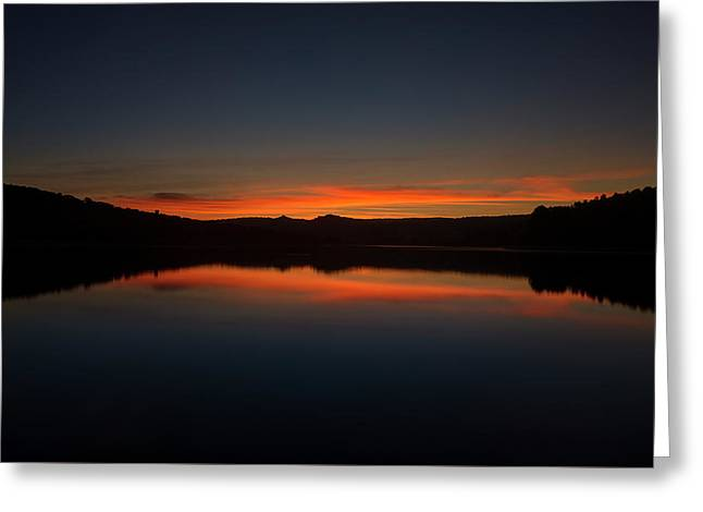 Sunset In The Reservoir Greeting Card