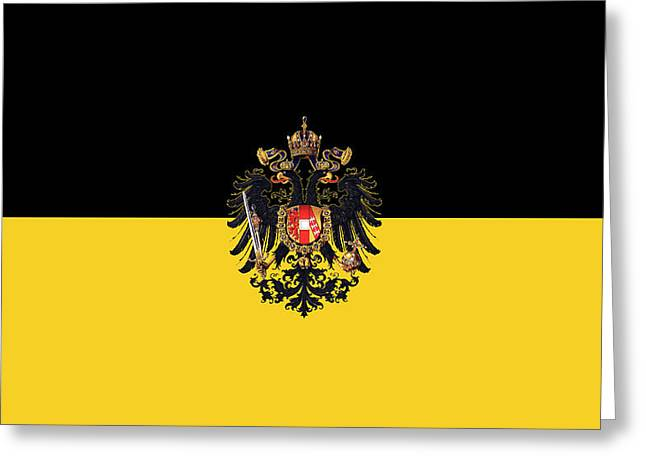 Habsburg Flag With Small Imperial Coat Of Arms Greeting Card