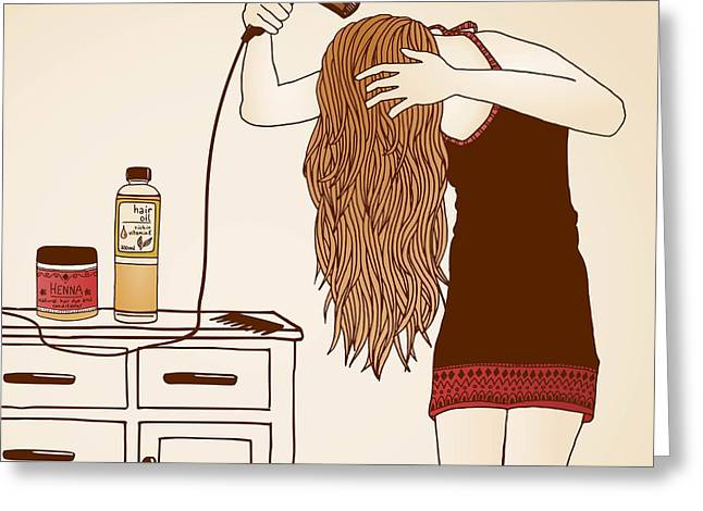 Hair Care Illustration No. 23 Colored Greeting Card by Franzi