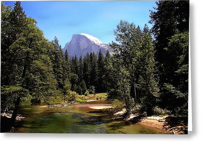 Half Dome From Ahwanee Bridge - Yosemite Greeting Card