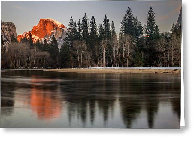 Half Dome Sunset In Winter Greeting Card