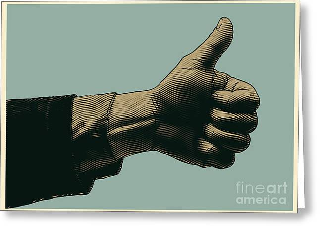 Halftone Thumbs Up Symbol. Engraved Greeting Card