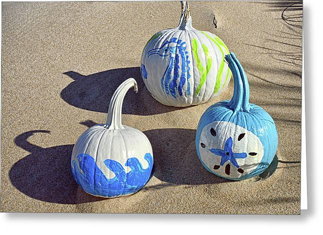 Greeting Card featuring the photograph Halloween Blue And White Pumpkins On A Dune by Bill Swartwout Fine Art Photography