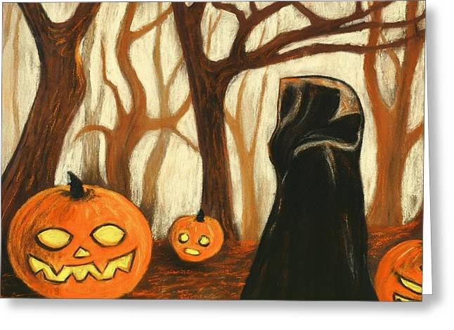 Greeting Card featuring the painting Halloween Forest by Anastasiya Malakhova
