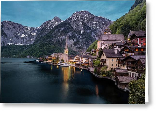 Greeting Card featuring the photograph Hallstatt Village At Dusk, Austria by Milan Ljubisavljevic