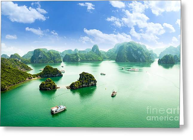 Halong Bay In Vietnam. Unesco World Greeting Card