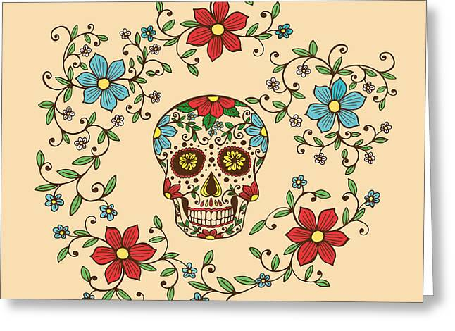 Hand Drawn Day Of The Dead Colorful Greeting Card
