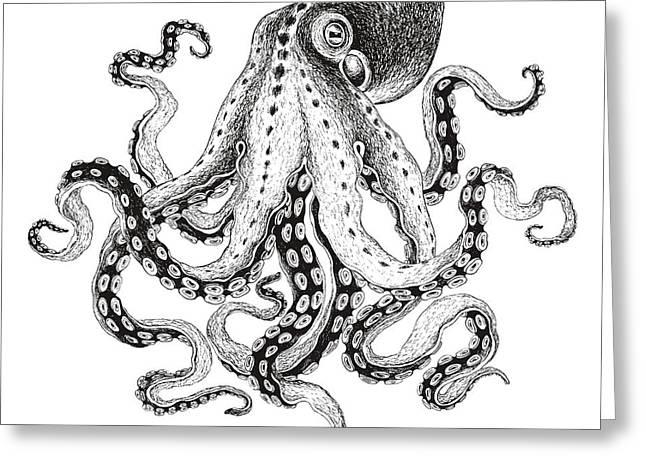 Hand-drawn Illustration Octopus, Vector Greeting Card