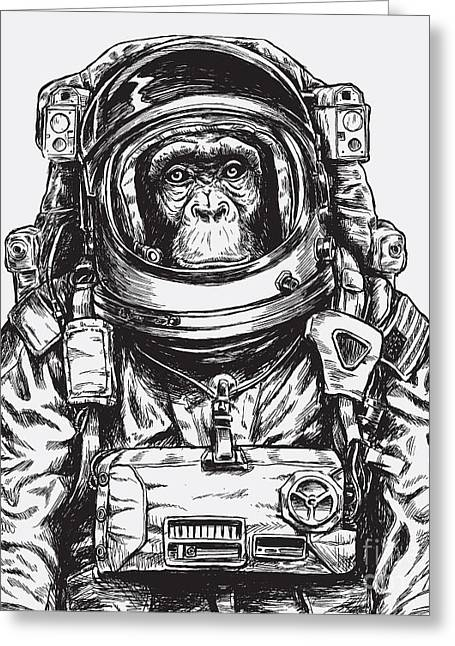 Hand Drawn Monkey Astronaut Vector Greeting Card