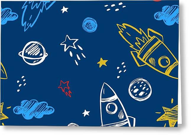 Hand Drawn Space Background Greeting Card by Nadezda Barkova