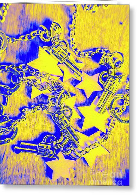 Handguns, Chains And Handcuffs Greeting Card