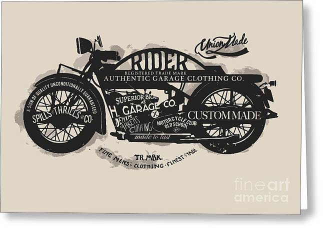 Handmade Font Motorcycle Race With Greeting Card