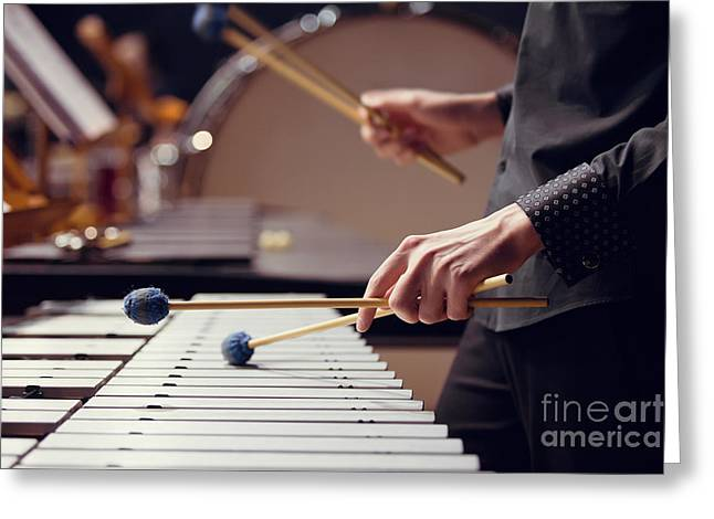 Hands Of Musician Playing The Vibraphone Greeting Card