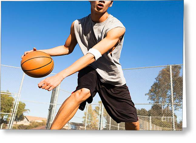 Handsome Male Playing Basketball Outdoor Greeting Card