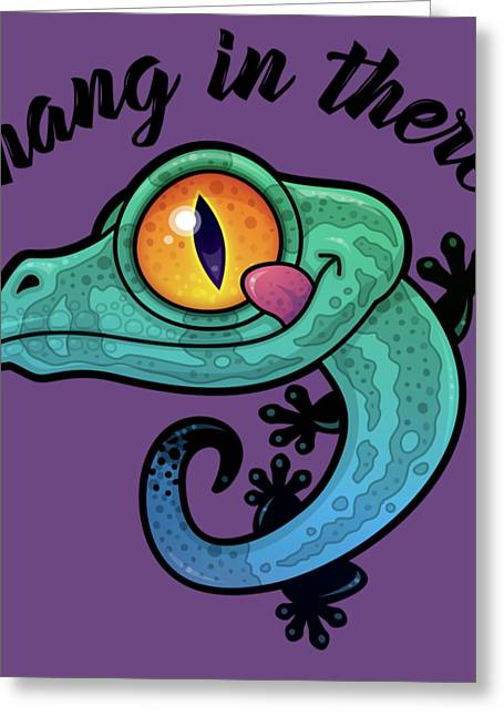 Hang In There Colorful Gecko Greeting Card