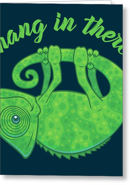Hang In There Magical Chameleon Greeting Card