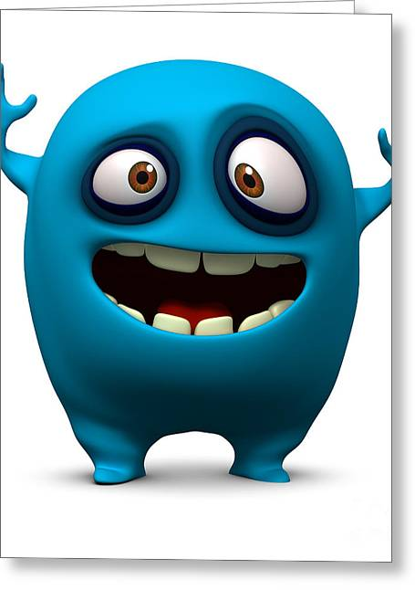 Happy Blue Monster Greeting Card