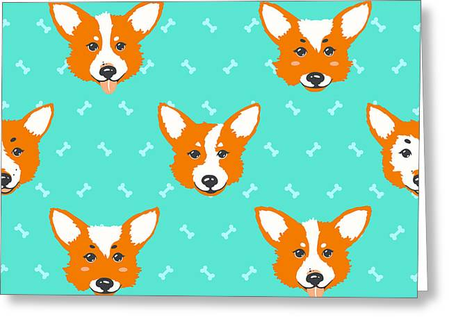 Happy Dog Welsh Corgi Orange And Greeting Card