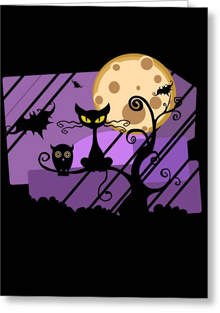 Happy Halloween Cat Greeting Card