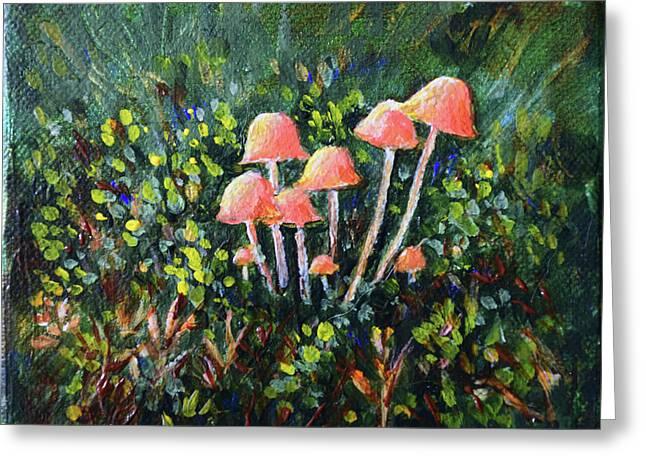 Happy Mushrooms Greeting Card