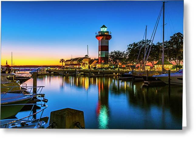 Harbor Town Lighthouse - Blue Hour Greeting Card