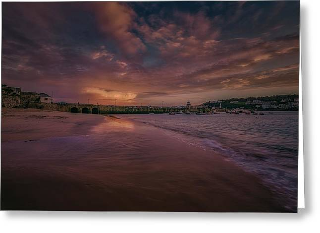 Harbour Sunset - St Ives Cornwall Greeting Card