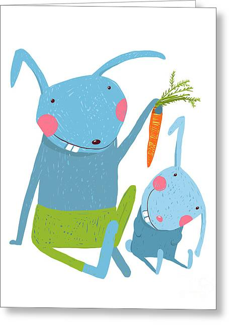 Hare And Leveret Eating Carrot . Animal Greeting Card