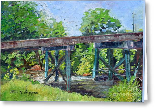 Greeting Card featuring the painting Harrison Park Bridge-ellijay River - Sun Peeking Under by Jan Dappen