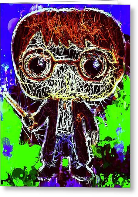 Greeting Card featuring the mixed media Harry Potter Pop by Al Matra