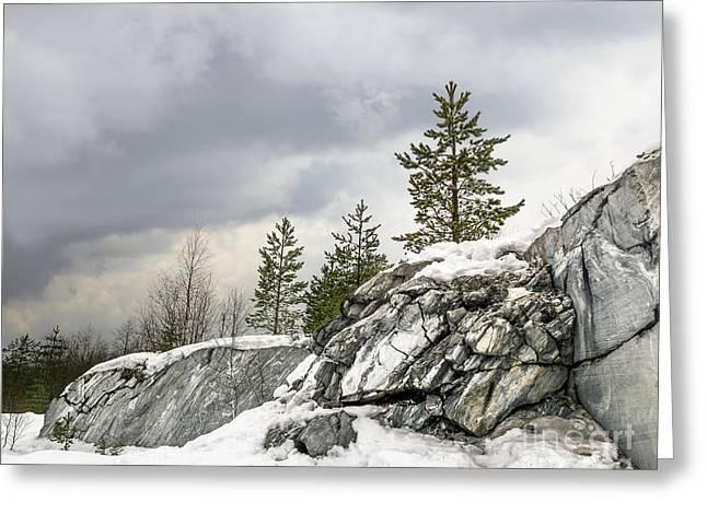 Harsh Northern Misty Landscape Greeting Card