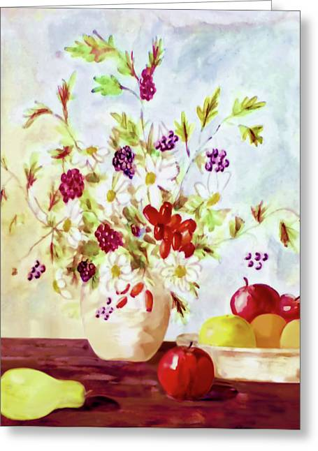 Harvest Time-still Life Painting By V.kelly Greeting Card