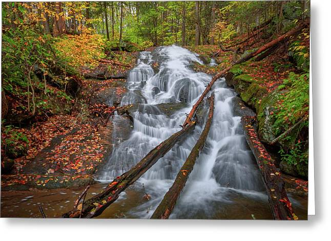 Greeting Card featuring the photograph Hatch Brook Falls Autumn by Bill Wakeley