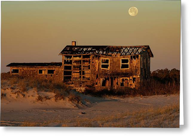 Clements House With Full Moon Behind Greeting Card